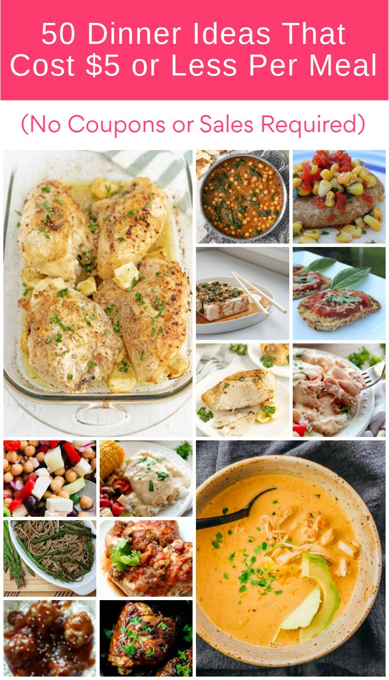 Can you really make an entire meal that costs $5 or less? You sure can! I'm talking hearty meals that feed your entire family and leave you with leftovers! All for $5 or less: no coupons and no sales required.