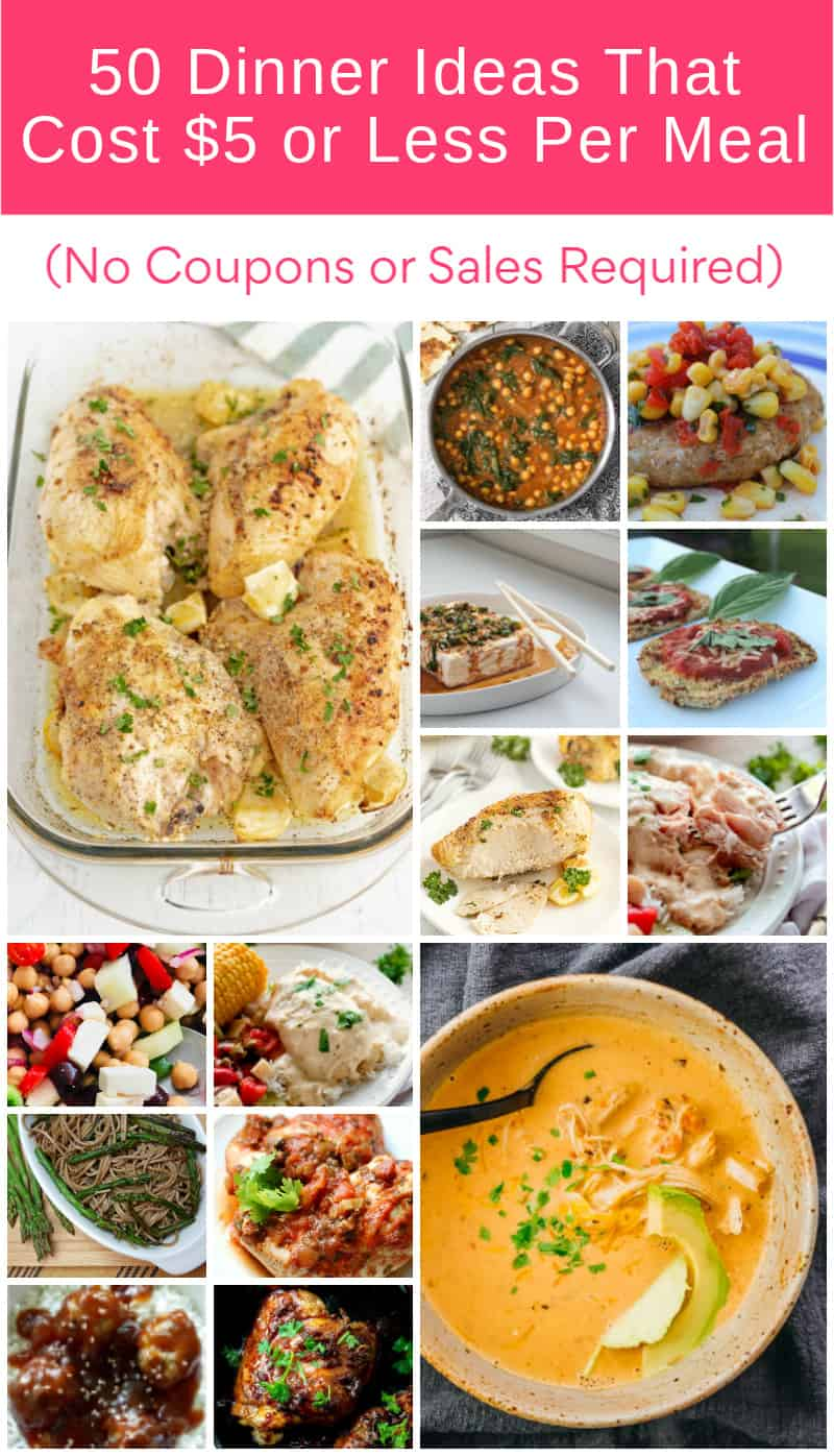 Can you really make an entire meal that costs $5 or less? You sure can! I\'m talking hearty meals that feed your entire family and leave you with leftovers! All for $5 or less: no coupons and no sales required.