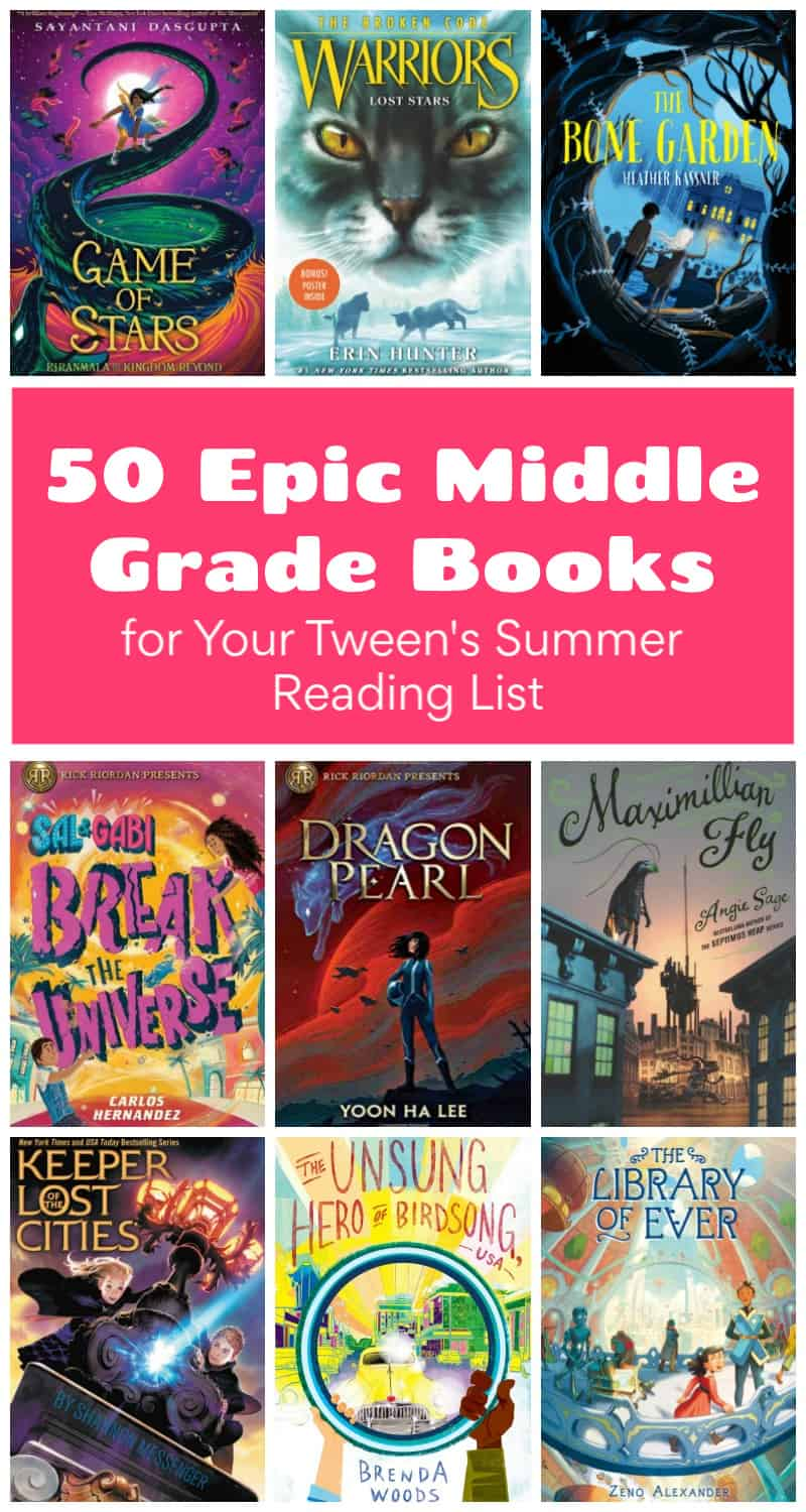 It\'s time for another summer reading list! This one is all about middle grade tweens and young teens. Read on for the top 50 epic books from every genre that will keep them reading all season long!