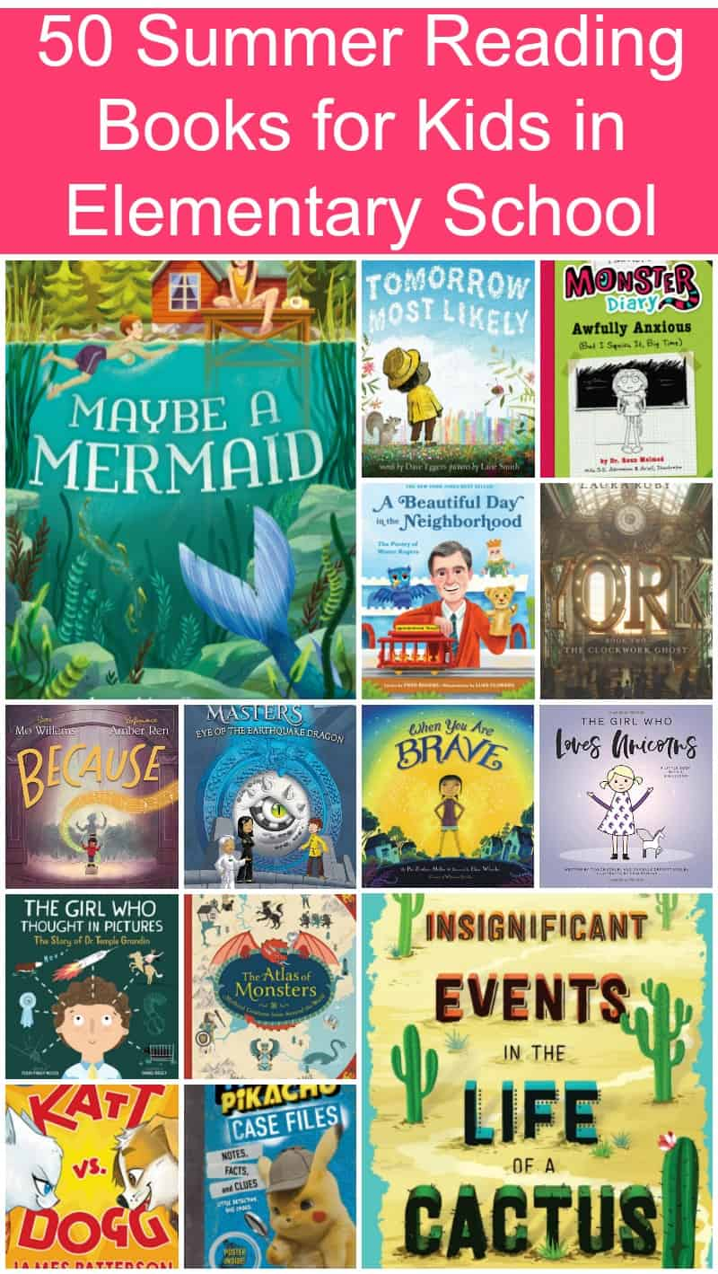 Looking for a few great books to add to your child\'s summer reading list? Read on for 50 fantastic ideas (broken down by grade level) that will encourage them to read all season long!