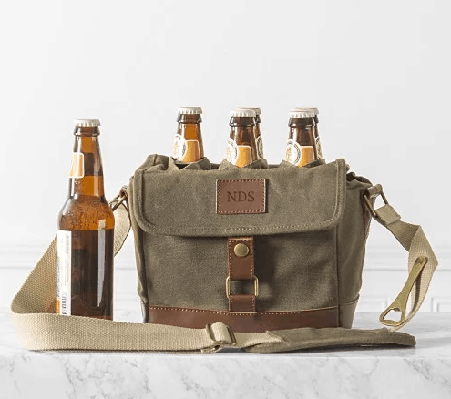 Personalized Waxed Canvas 6 Pack Beer Carrier 2019 Dads & Grads Gift Guide