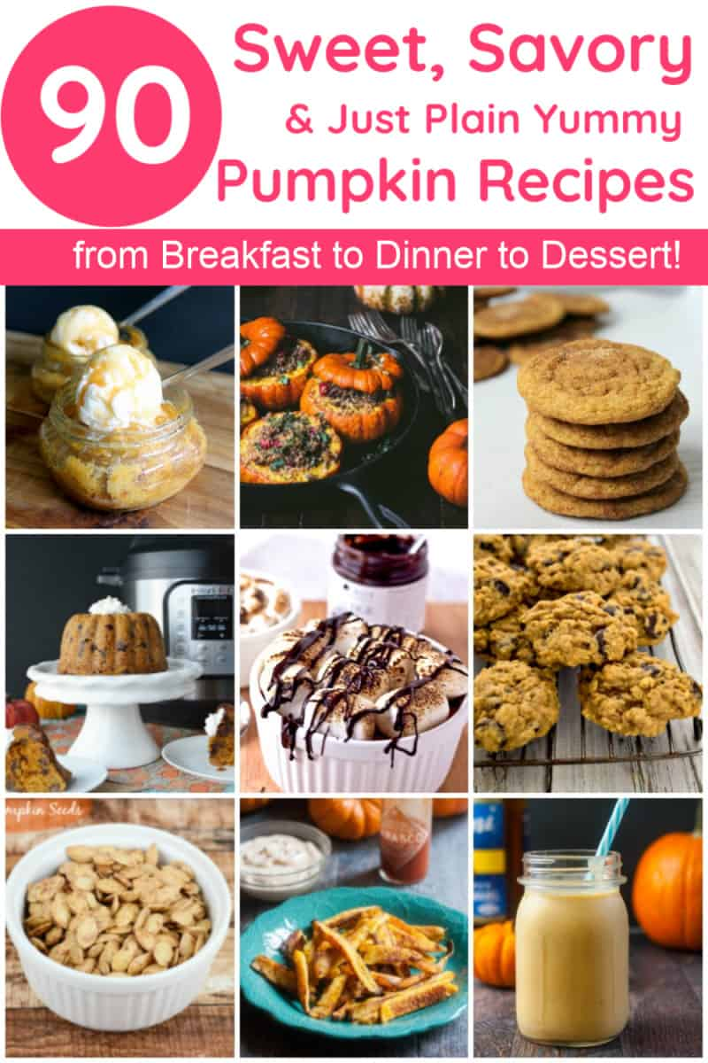Looking for the ultimate list of pumpkin recipes to make this fall? Check out 90 sweet, savory and just plain yummy ideas! Think pumpkin for breakfast, dinner, dessert and everything in between! You\'ll even find a few tasty pumpkin drink recipes (both boozy and non-alcoholic).