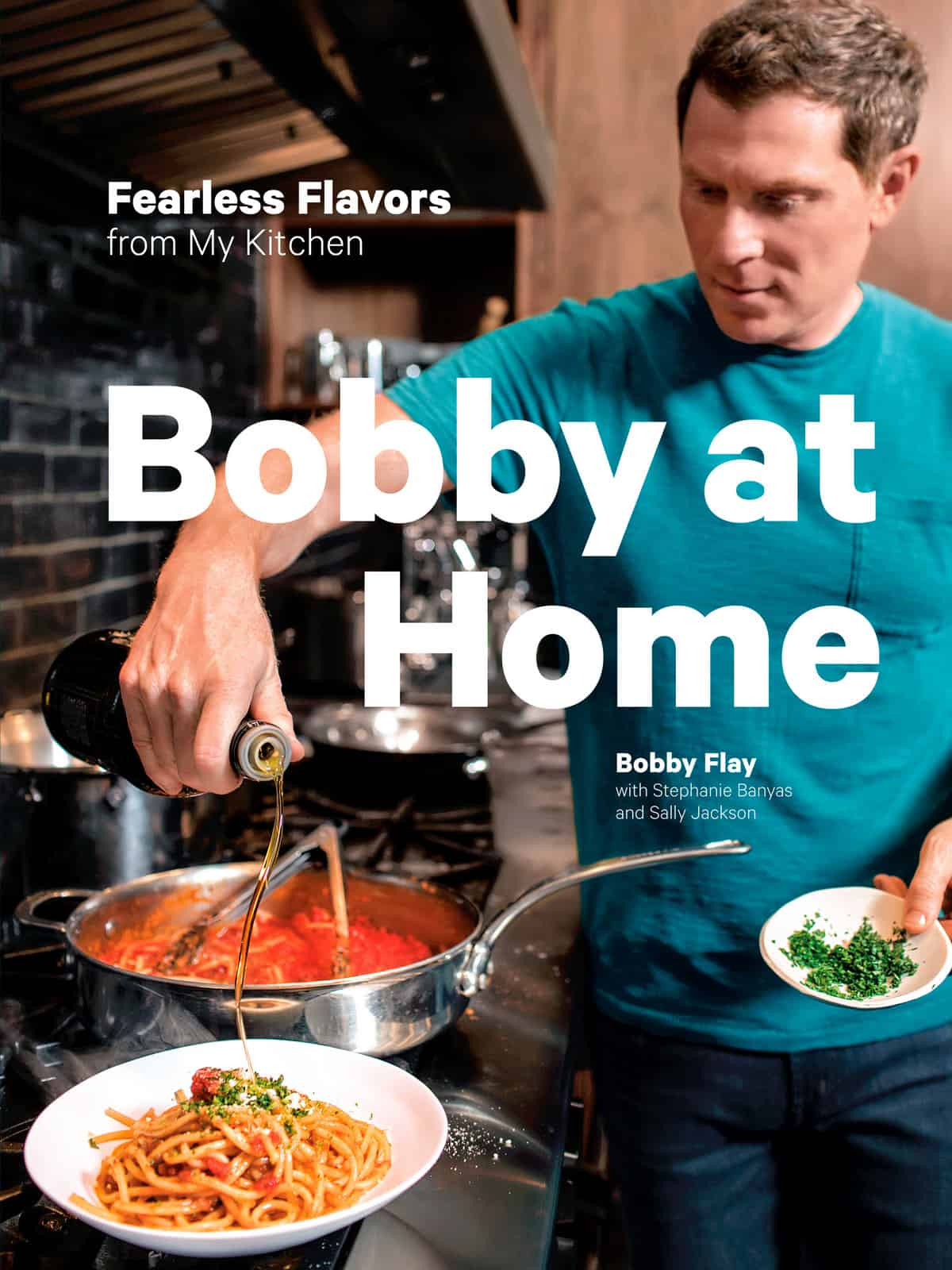 If you've ever wished you could cook just like Bobby Flay, here's your chance!  Bobby at Home: Fearless Flavors From My Kitchen is in stores now! Read on to learn more, plus check out one of my favorite recipes- Brick Chicken with Salsa Verde!
