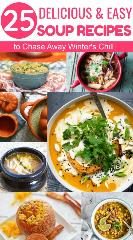 Get ready to chase away winter's chill with some amazingly delicious soup recipes! From chicken noodle to easy creamy potato to unique soups I never would have thought of, I rounded up 25 of the yummiest recipes from some of my favorite food bloggers. Check them out!
