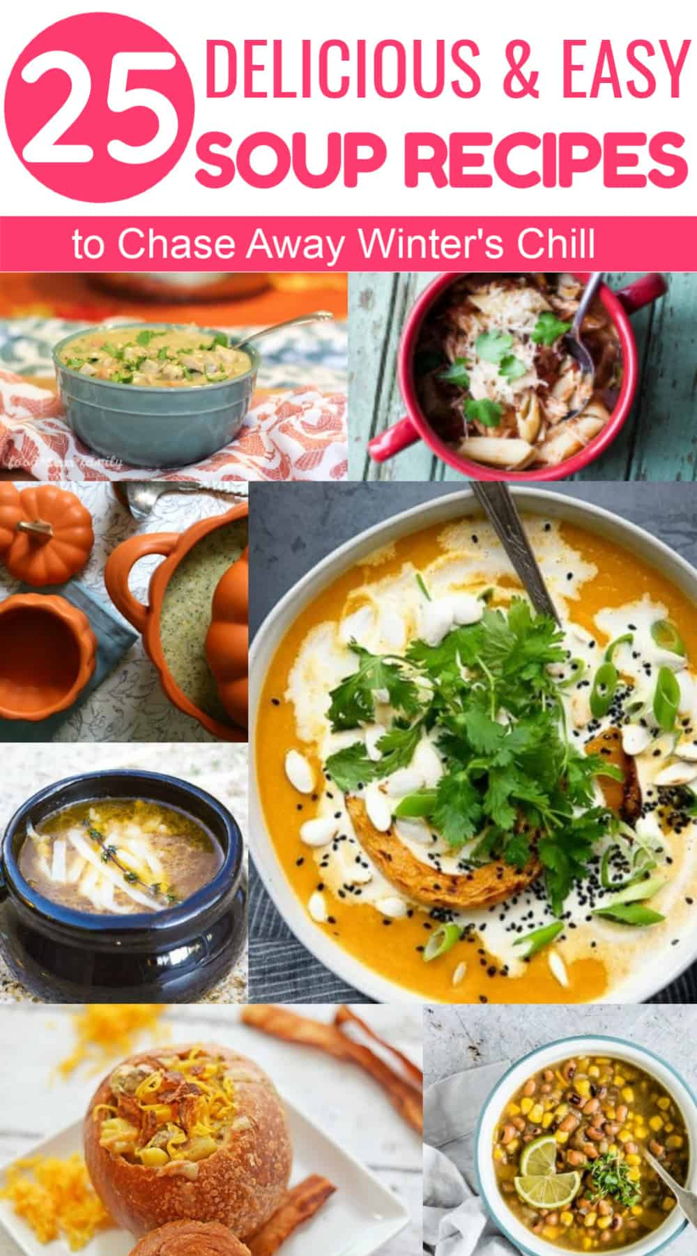 Get ready to chase away winter\'s chill with some amazingly delicious soup recipes! From chicken noodle to easy creamy potato to unique soups I never would have thought of, I rounded up 25 of the yummiest ideas. Check them out!