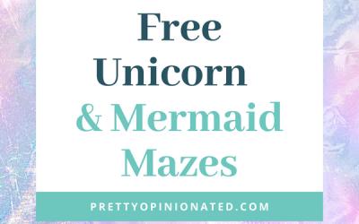 10 Free Printable Unicorns & Mermaids Mazes for Kids