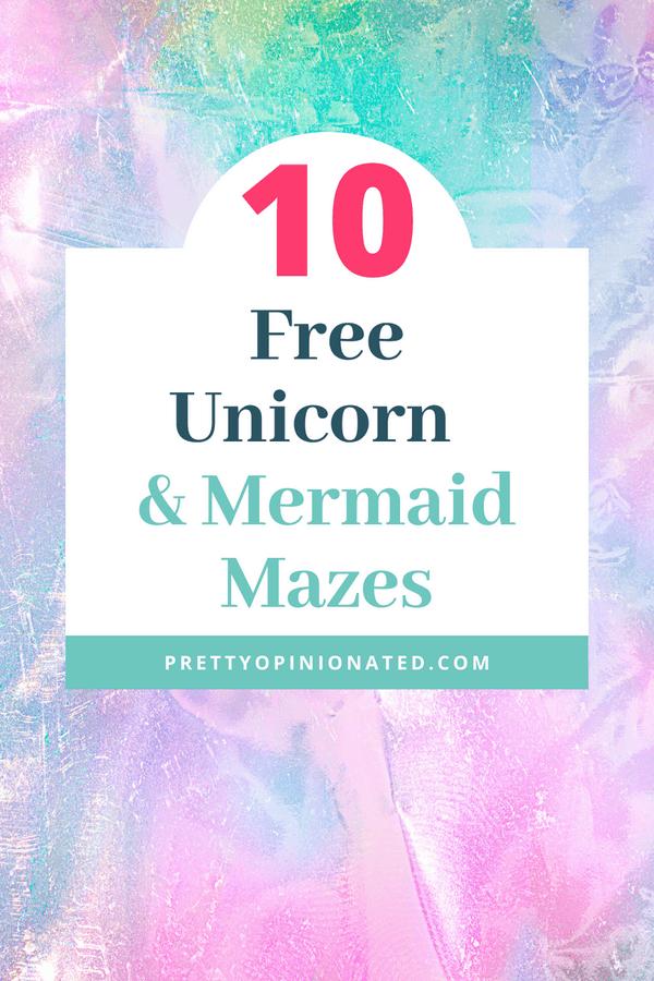 mermaid unicorn mazes free 01 10 Free Printable Unicorns & Mermaids Mazes for Kids