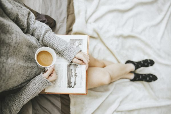 Reading at home in bed