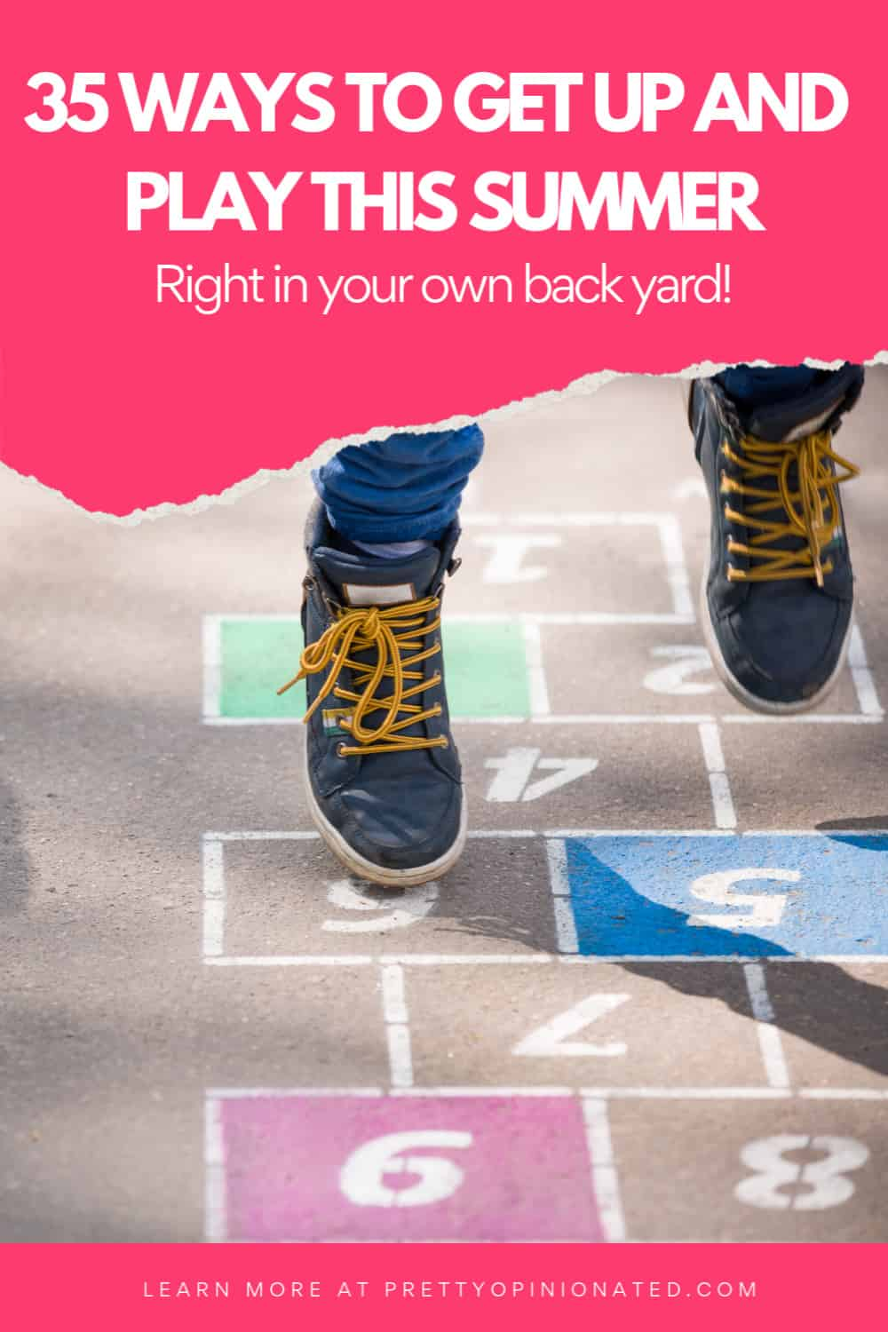 Make outdoor play time a priority this summer! Check out 35 fun ideas to help you Get Up and Play more together + grab a free printable to help keep track of your family's activities.