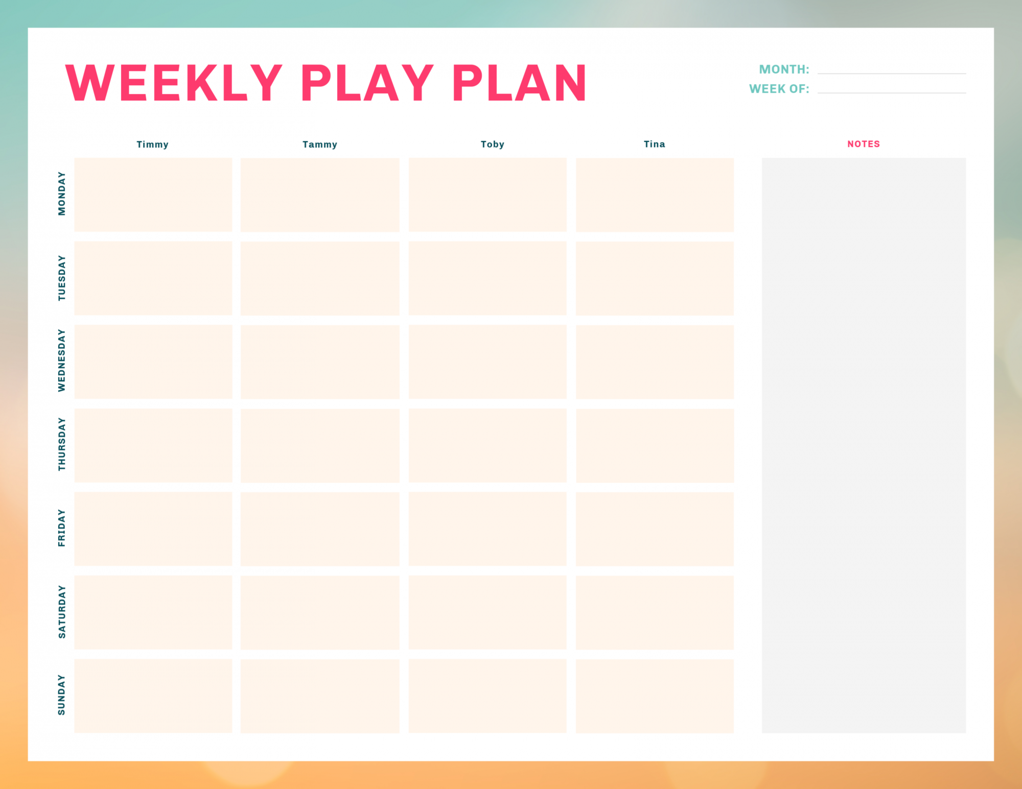 "Free printable weekly ""play plan"" to keep kids active all summer long."
