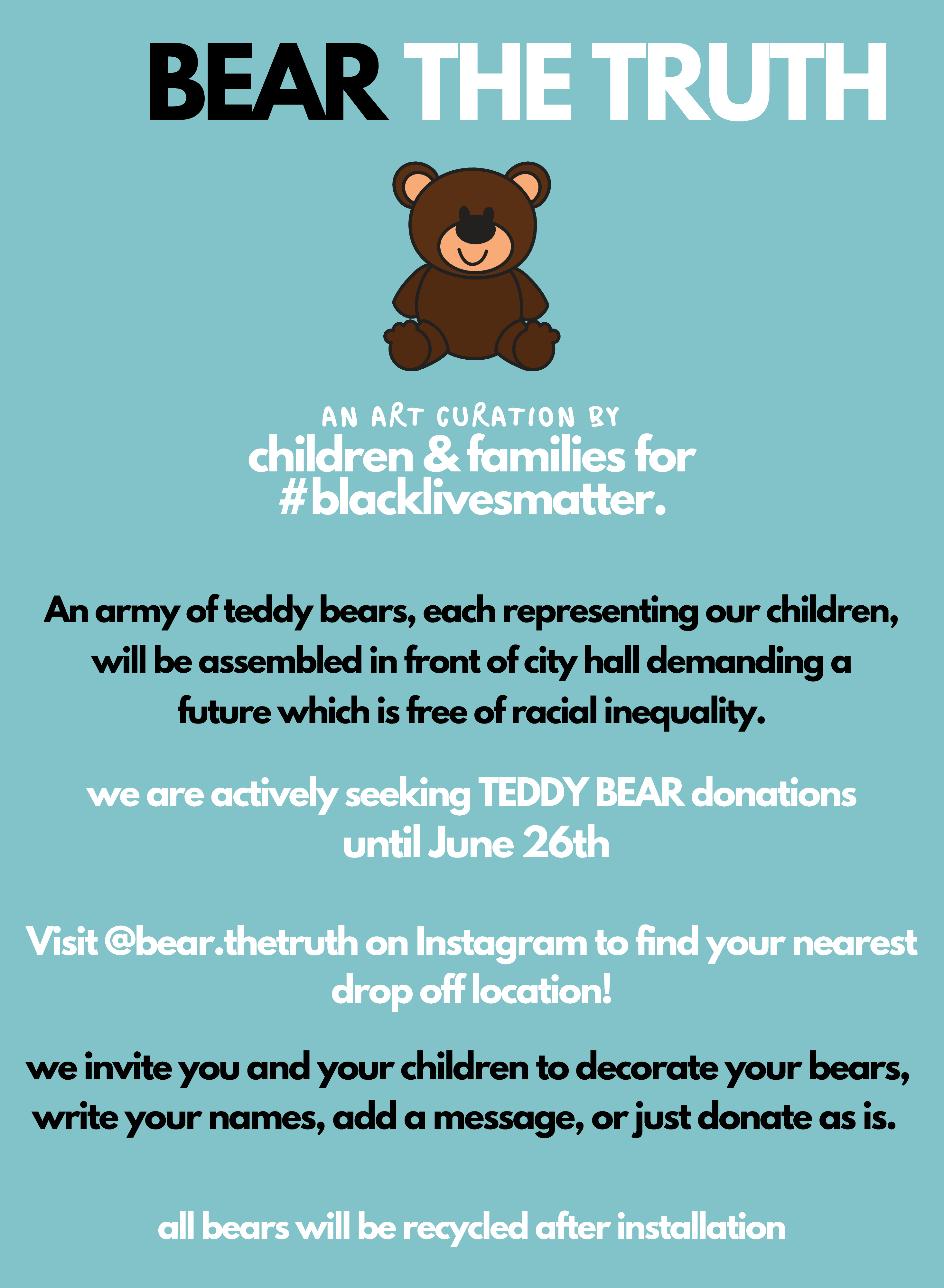 unnamed Bear the Truth, Be the Change Organizes a Teddy Bear Picnic So Kids Can Show Support for #BlackLivesMatter
