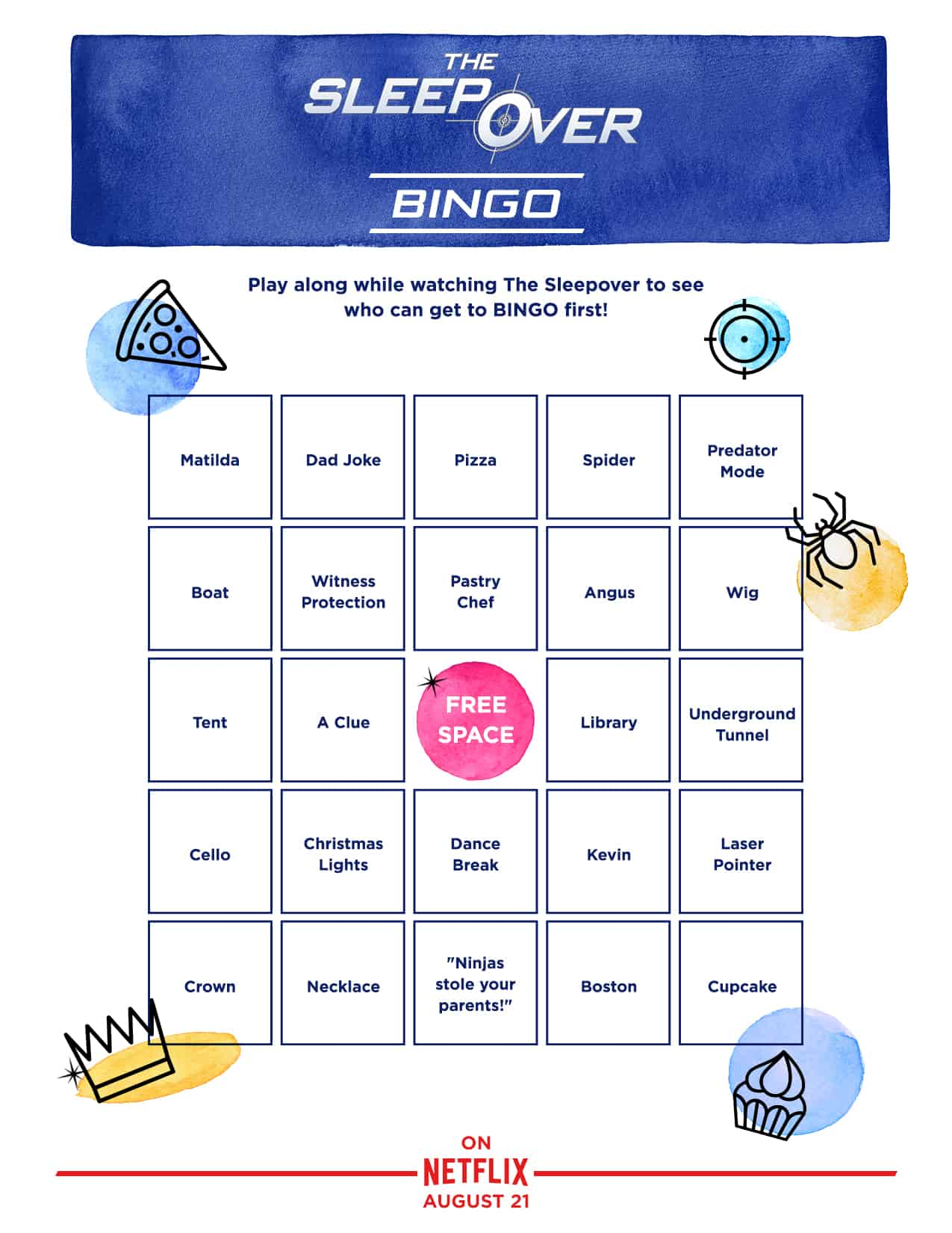 Sleepover Printable Bingo