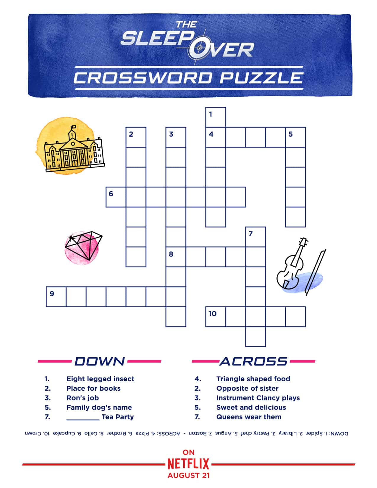 "Sleepover PrintOut Crossword V3 Download Fun Slumber Party Activities & Printables, Courtesy of Netflix's ""The Sleepover"""