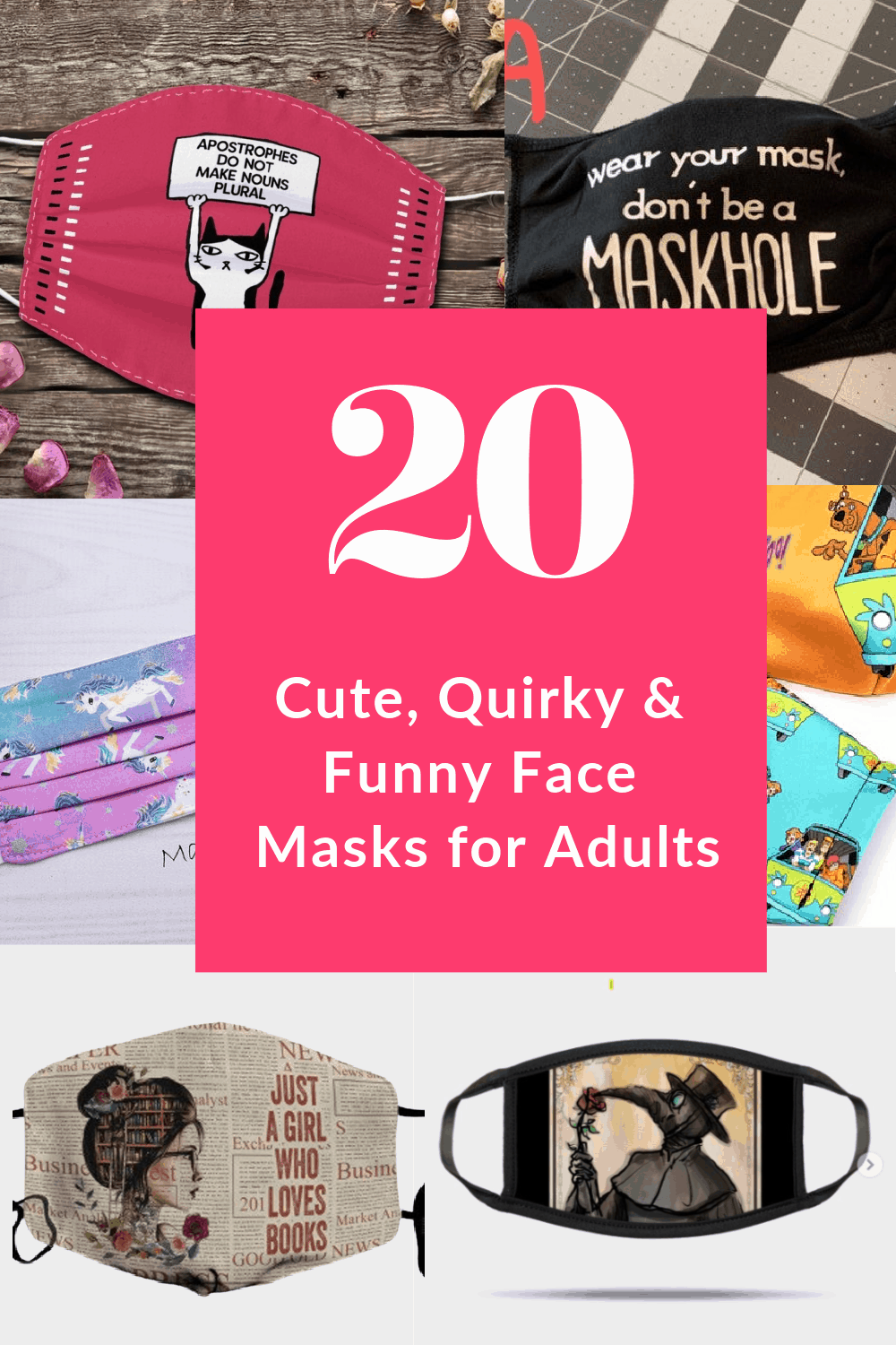 Since we have to wear face masks for the foreseeable future, might as well make them fun! In that spirit, below are some of my favorite cute, quirky, and funny face masks that are almost fun to wear. Almost...