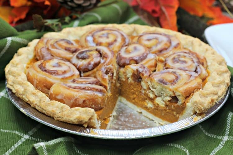 Cinnamon Roll Pumpkin Pie 5 750x500 1 25 Amazing Pie Recipes for Thanksgiving, Christmas & Beyond