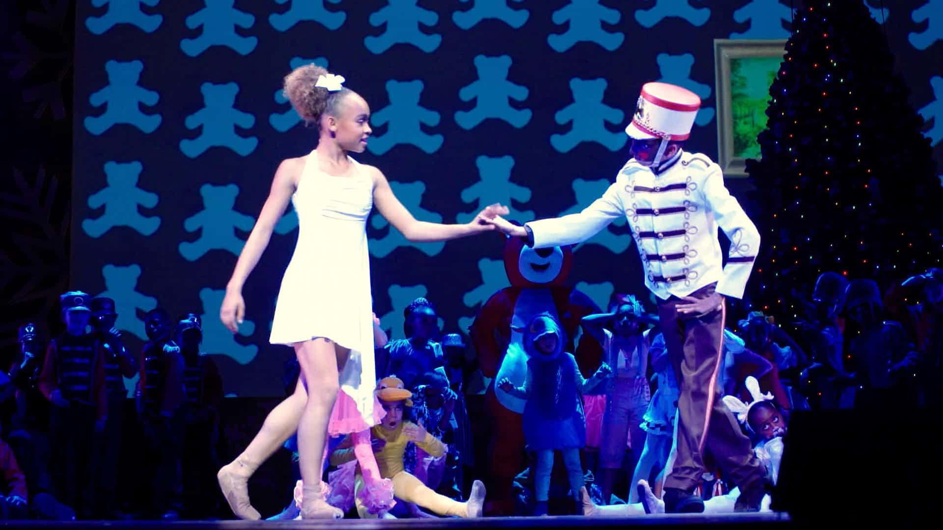 Dancers Kalyn Flowers and Ryan Phuong in Dance Dreams: Hot Chocolate Nutcracker. c. Courtesy of Netflix/2020