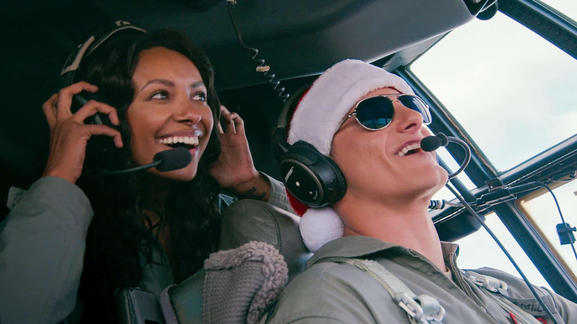 Operation Christmas Drop. Kat Graham as Erica, Alexander Ludwig as Andrew in Operation Christmas Drop. Cr. Ricardo Hubbs//NETFLIX © 2020