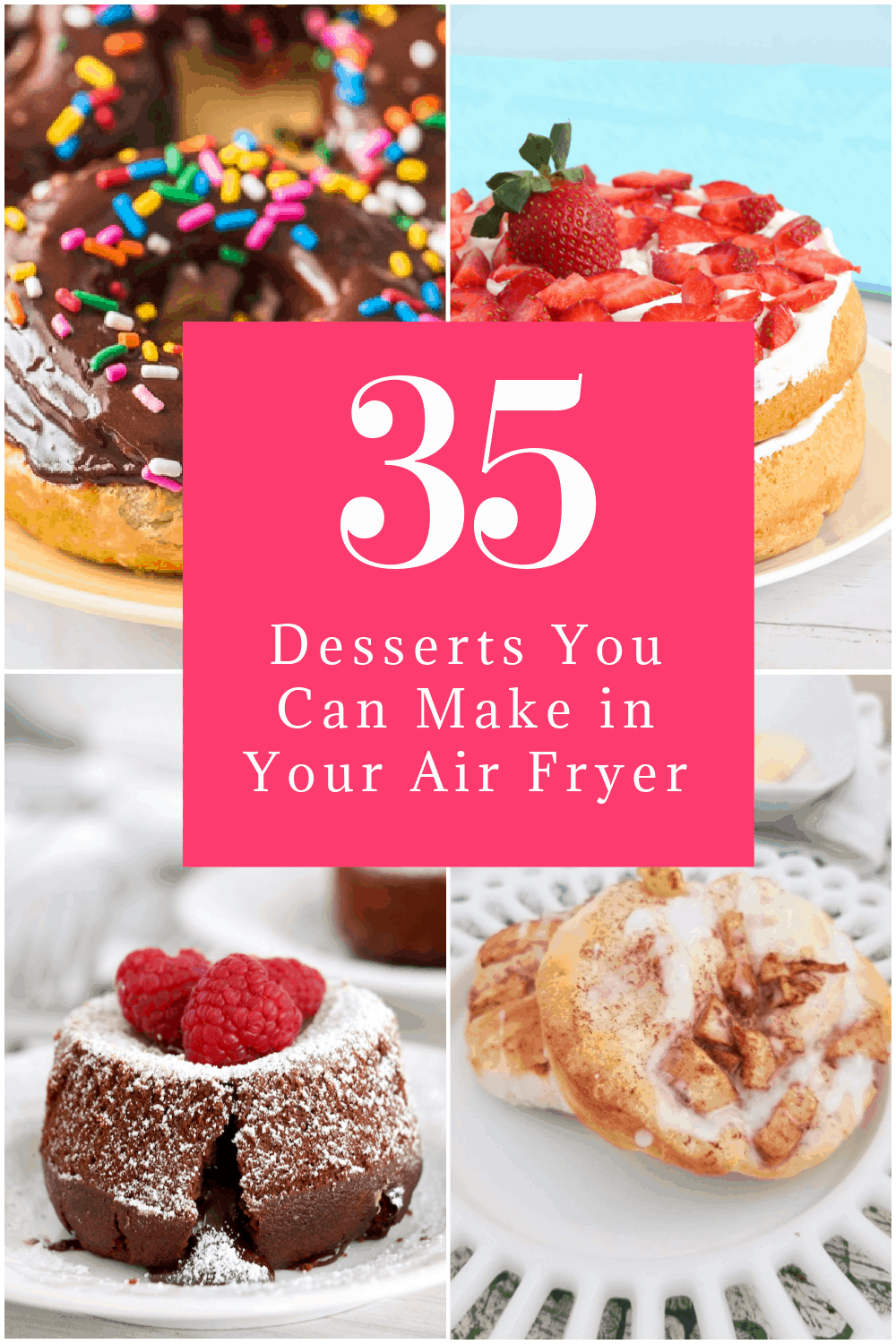 Looking for some tasty air fryer dessert recipes? I've got you covered! Keep reading to discover 35 incredibly delicious (and sometimes, even relatively healthy) tasty treats that you can make in an Air Fryer or Ninja Foodie!