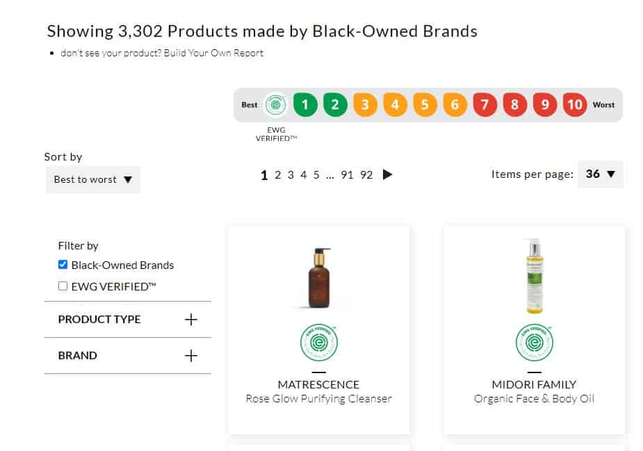 EWG Skin Deep Database Black Owned Brands Filter