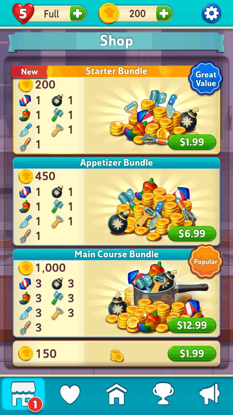 Gordon Ramsay's Chef Blast in-app purchases