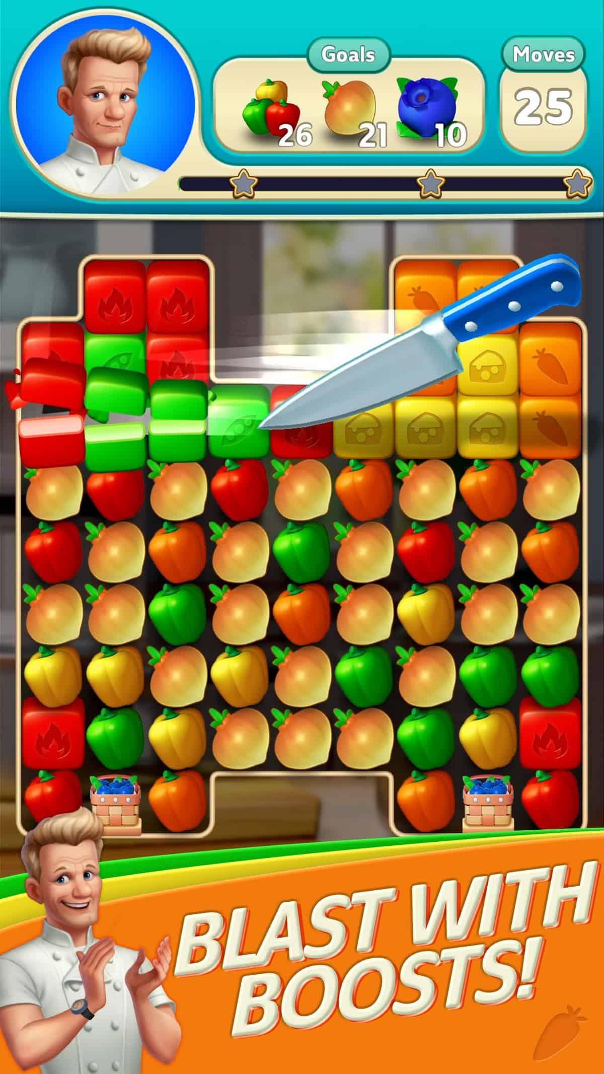 Screenshot of Gordon Ramsey's Chef Blast matching game