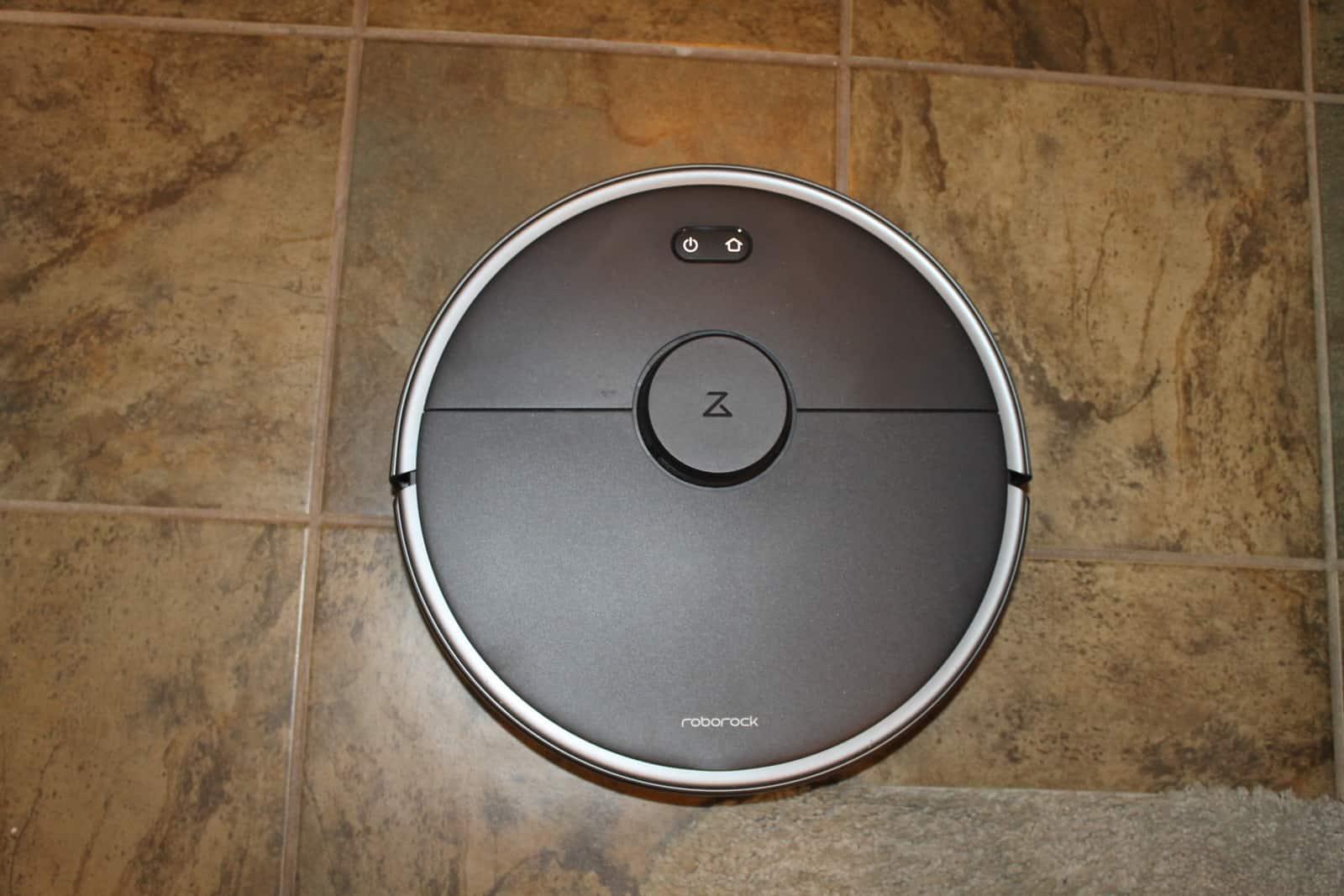 The Roborock S4 max on a tile floor.