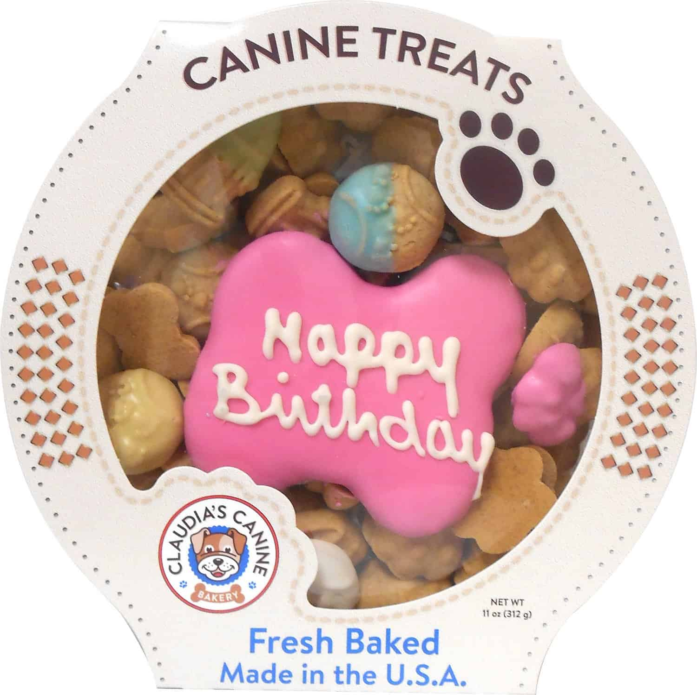 Claudia's Canine Bakery Happy Birthday Peanut Butter Cookie Dog Treats | Dog birthday gift ideas