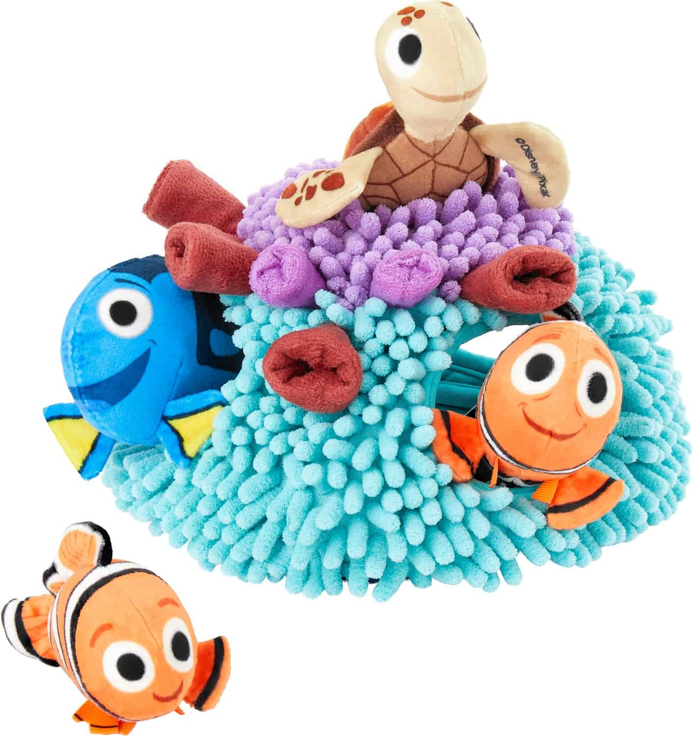 Pixar Finding Nemo's Anemone Hide and Seek Puzzle Plush Squeaky Dog Toy, part of the Chewy Disney dog collection.